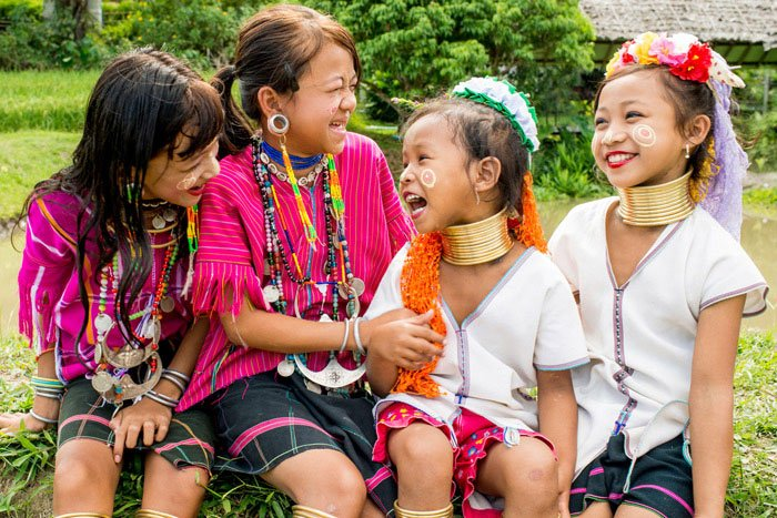 Thai ethnic minority girls having fun together during a Chiang Mai Photo Workshop