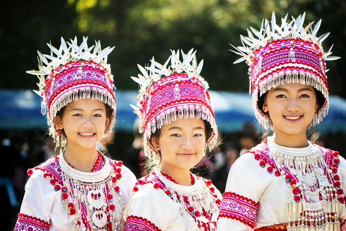 Hmong girls at a new year festival taken during a Chiang Mai Photo Workshop