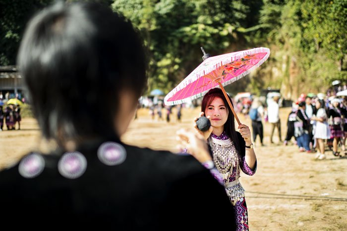 Hmong Pov Pod Game at a new year festival