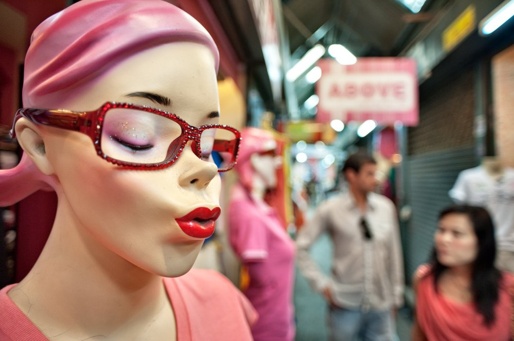 Humorous mannequin at the Chatuchak Weekend Market in Bangkok, Thailand, This market is one of the largest weekend market in the world and has over 15,000 stalls and covers an area of about 27 acres. It is popular with both locals and tourists. How To Take the Best Pictures in Thailand