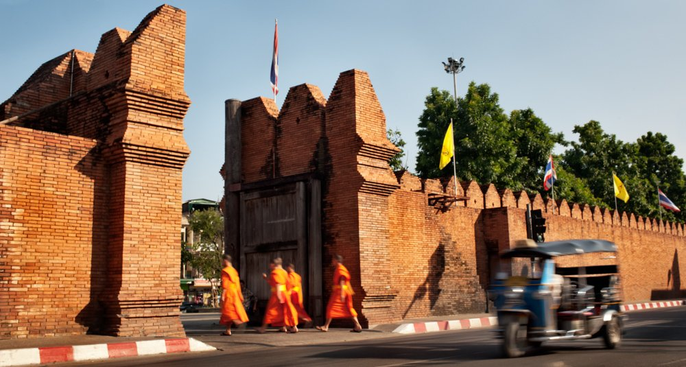 Tha Pae Gate, Chiang Mai with monks and a tuktuk How To Take the Best Pictures in Thailand